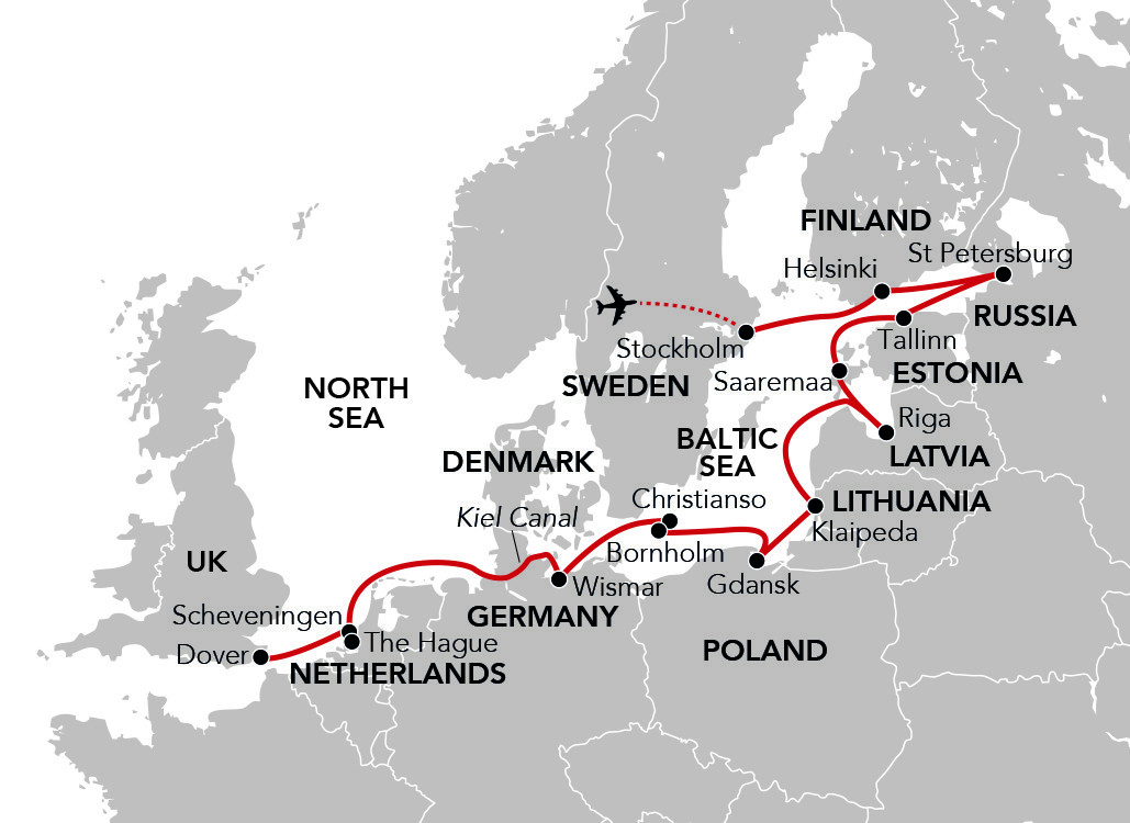 Map for Sailing from the Baltic to Britain