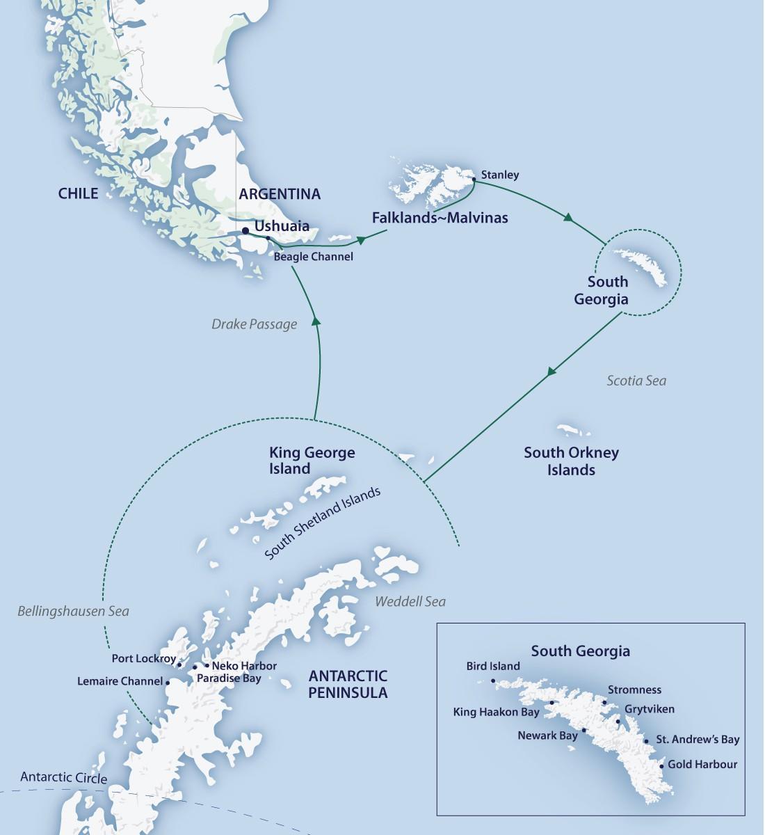 Map for Falklands, South Georgia & Antarctica (Greg Mortimer)