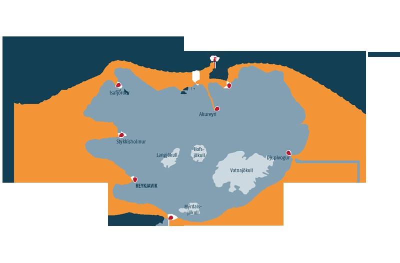 Map for Iceland Circumnavigation Express