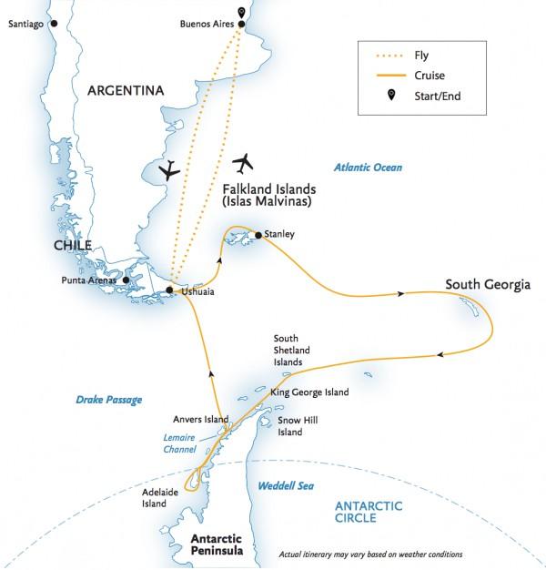 Map for Epic Antarctica Adventure
