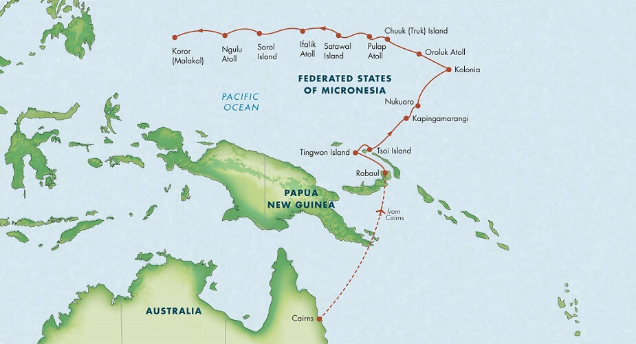Map for Best of Micronesia: Rabaul to Palau