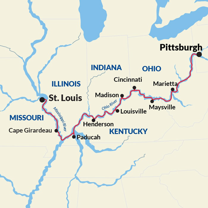 Map for Ohio River Cruise