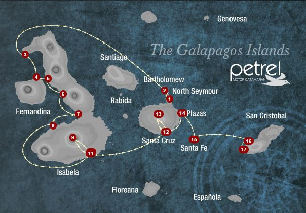 Map for Isabela, Fernandina & Central Islands 8 days A (Petrel)