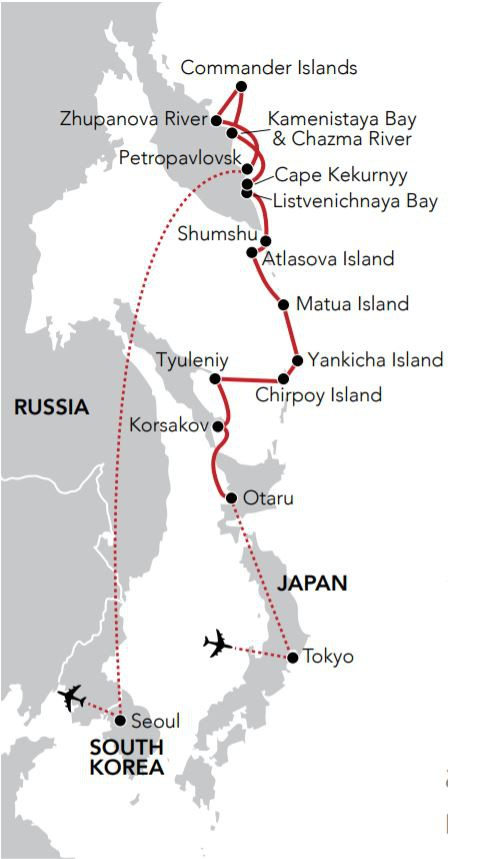 Map for Passage to Kamchatka