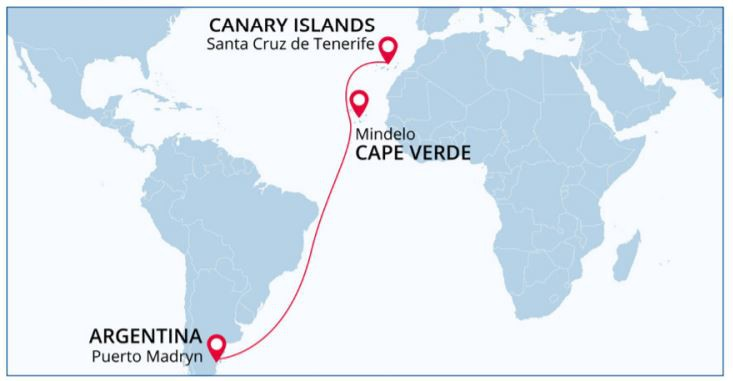 Map for Cross the Atlantic: from Puerto Madryn to Santa Cruz de Tenerife