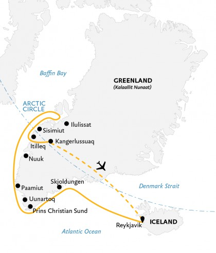 Map for Essential Greenland: Southern Coasts & Disko Bay