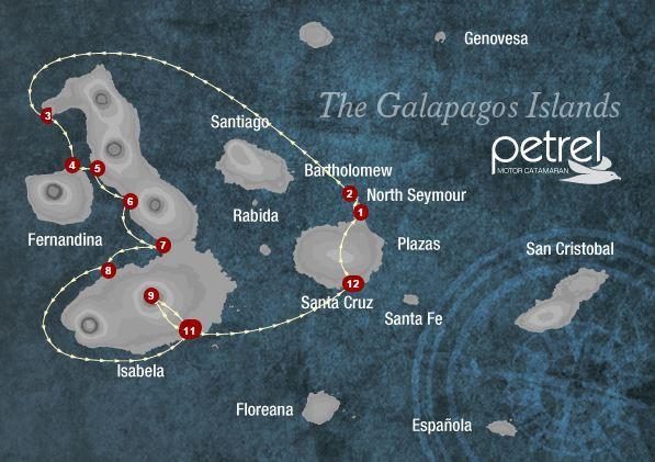 Map for Isabela & Fernandina Islands 6 days A (Petrel)
