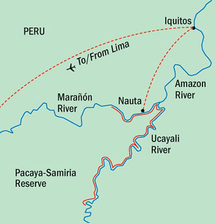 Map for Upper Amazon Tour