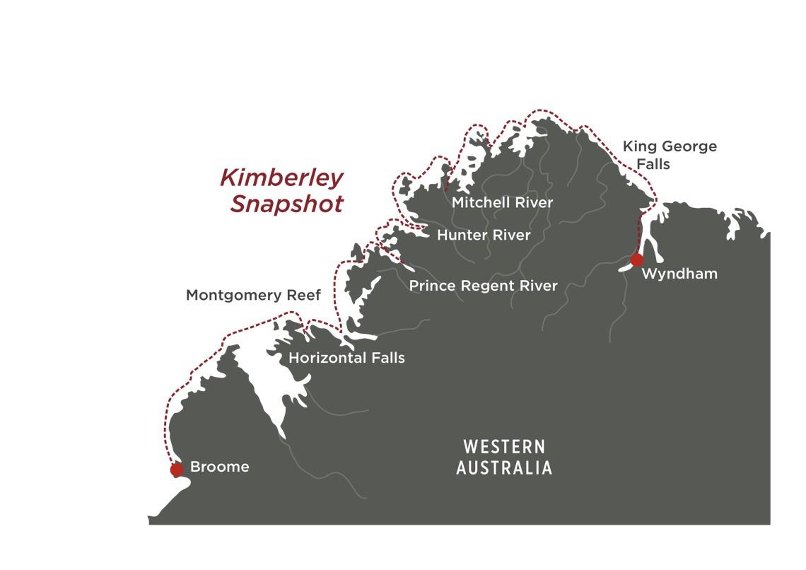 Map for Kimberley Snapshot Cruise