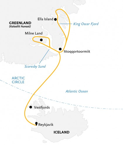 Map for Exploring Iceland & East Greenland (World Explorer)