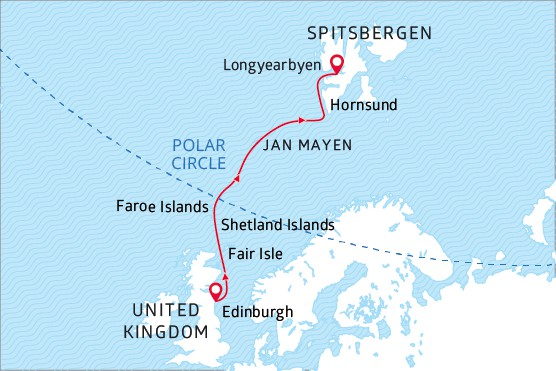 Map for From Scotland Highlands to Arctic Glaciers