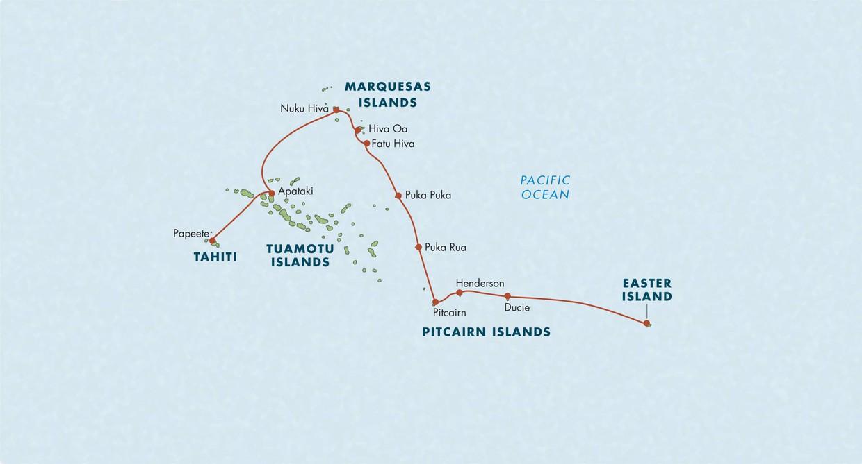 Map for Tahiti to Easter Island: Marquesas, Tuamotus & Pitcairns