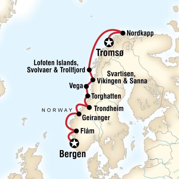 Map for Cruise the Norwegian Fjords in Depth – Tromsø to Bergen