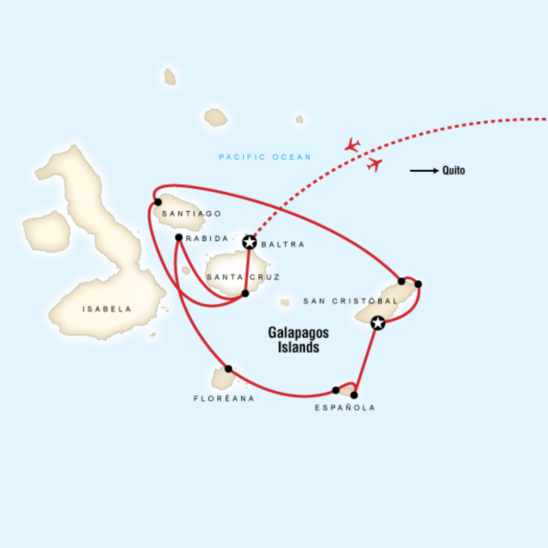 Map for Galápagos — Central, East & South Islands