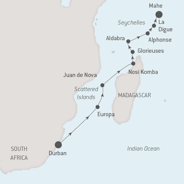Map for The Scattered Islands & the Seychelles