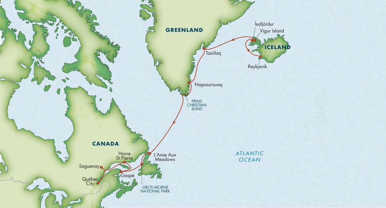 Map Of Canada Greenland And Iceland.Path Of The Vikings Reykjavik To Quebec Wild Earth Travel