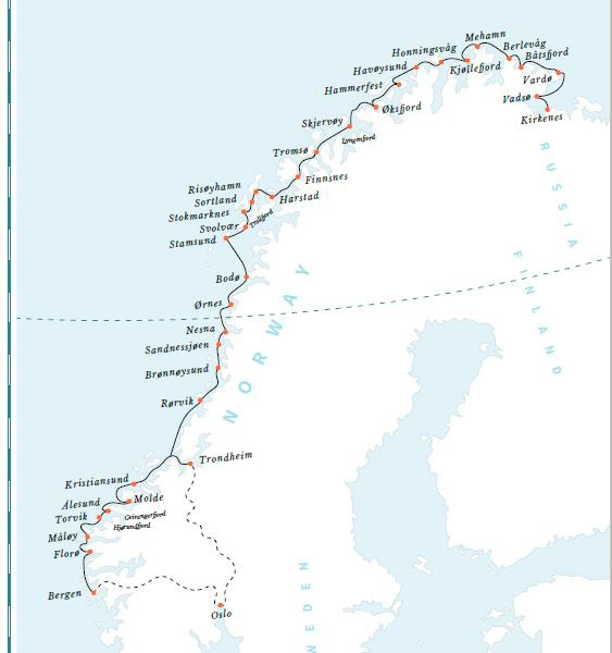 Map for Classic Voyage South: Kirkenes - Bergen