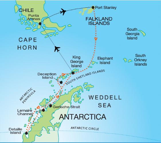 Map for Quest for the Antarctic Circle (Akademik Vavilov)