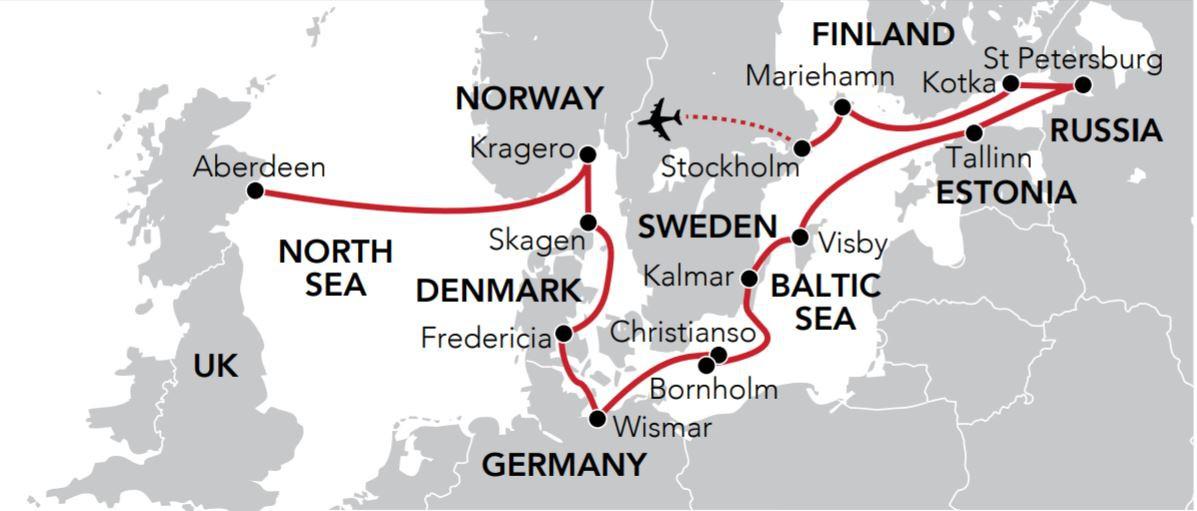 Map for Hidden Baltic & Scandinavia (Serenissima)