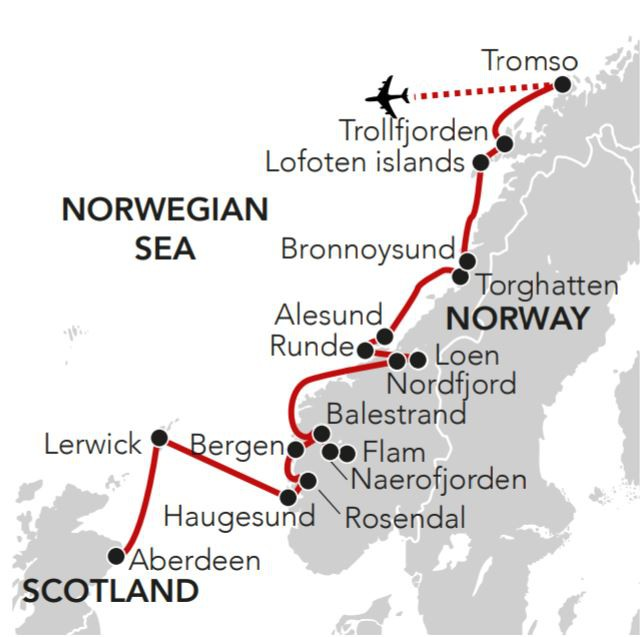 Map for Midsummer in Norway & the Scottish Isles 2019