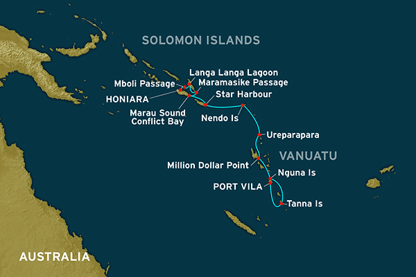 Map for A Passage to the Solomons (Honiara to Port Vila)