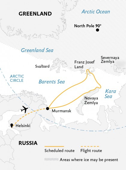 Map for Jewels of the Russian Arctic: Franz Josef Land & Novaya Zemlya