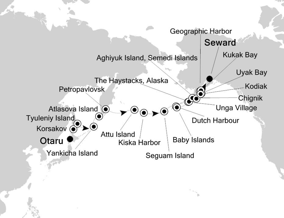 Map for Around the Kuril and Aleutian Islands