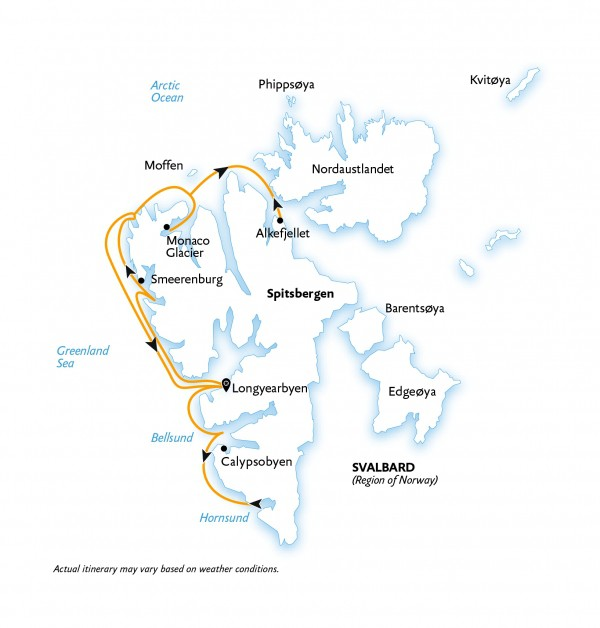 Map for Intro to Spitsbergen: Fjords, Glaciers and Wildlife of Svalbard
