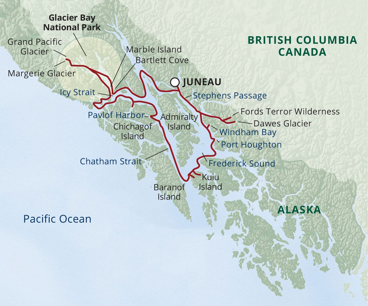 Map for Glacier Bay Small Ship Cruise (Wilderness Adventurer)