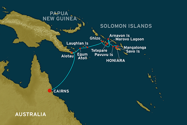 Map for A Passage to the Solomons (Cairns to Honiara)