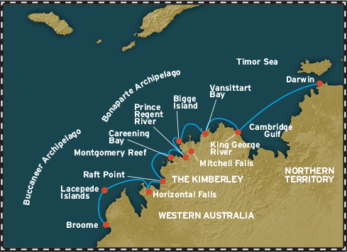 Map for The Kimberley From Darwin (Coral Expeditions I)
