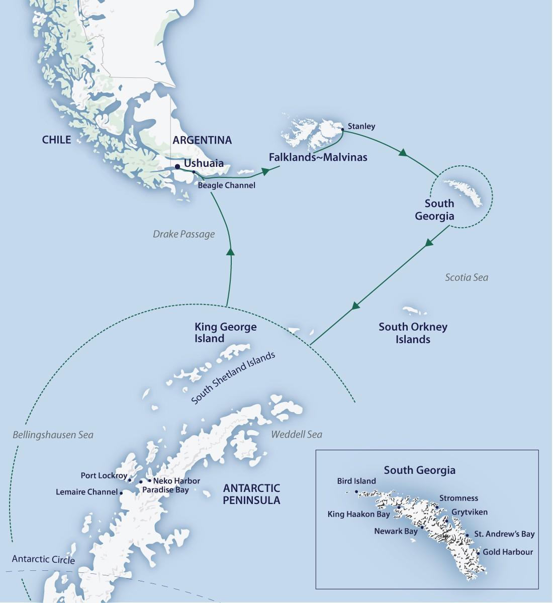 Map for Antarctica Complete (Greg Mortimer)