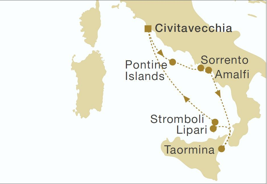 Map for Sicily and the Amalfi Coast (Royal Clipper)