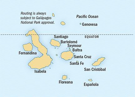 Map for Galapagos 10 Day Expedition (NG Islander)