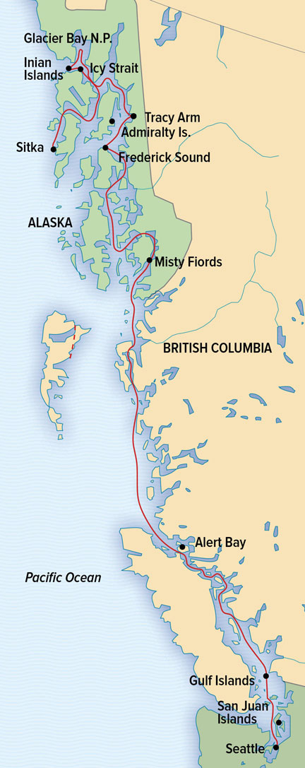 Map for Discovering Treasures of the Inside Passage
