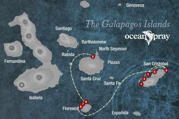 Map for San Cristobal & Floreana 4 days (Ocean Spray)