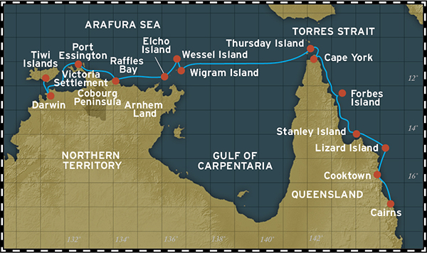 Map for Cape York and Arnhem Land (Darwin to Cairns)