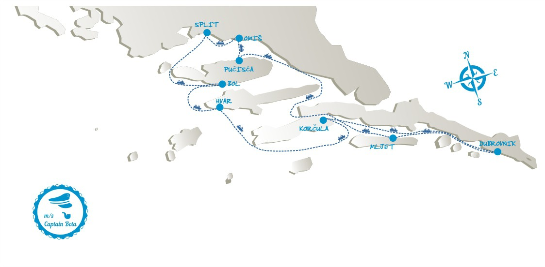 Map for Southern Croatia Premium Cruise from Split