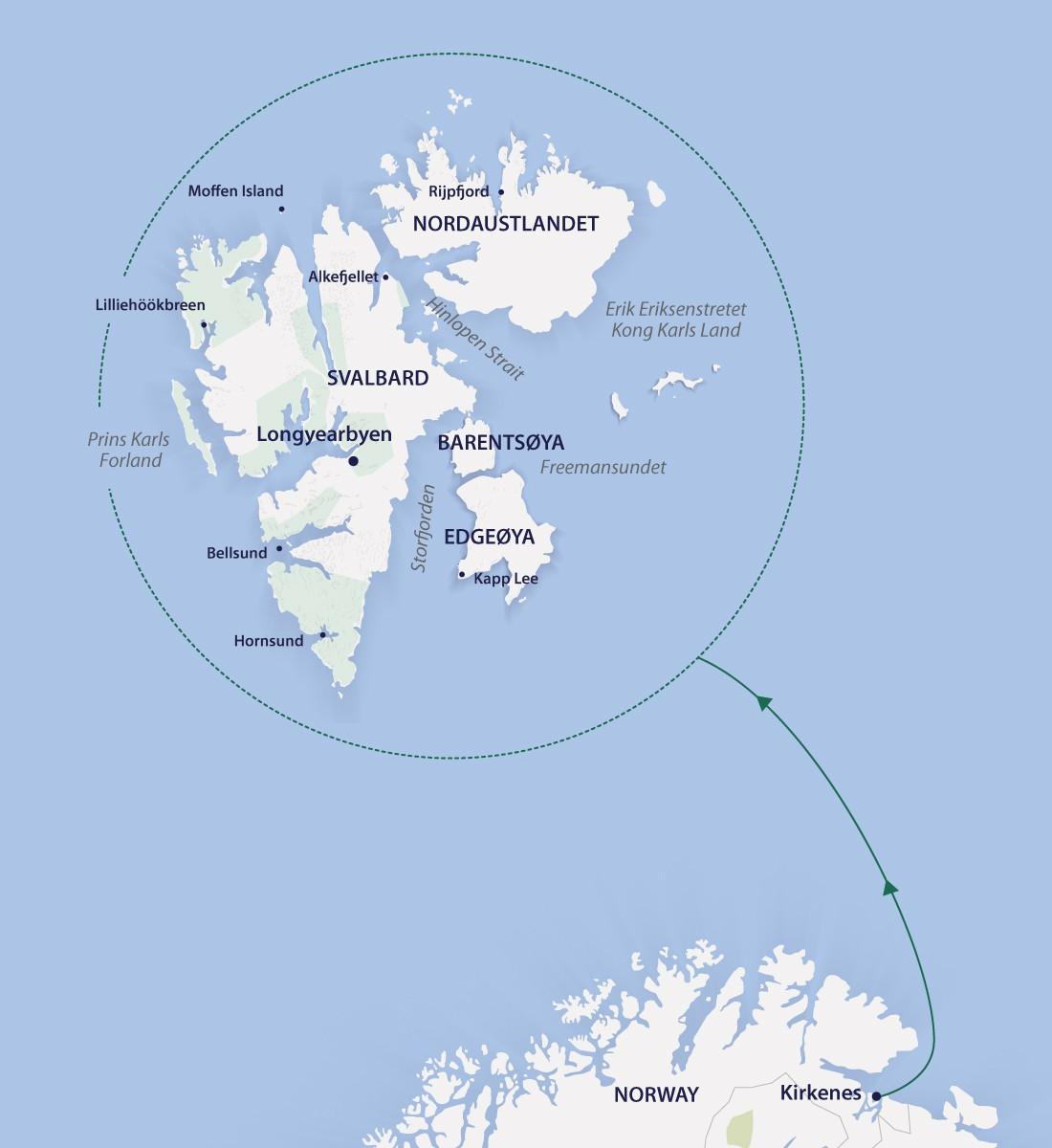 Map for Spitsbergen Odyssey (Greg Mortimer)