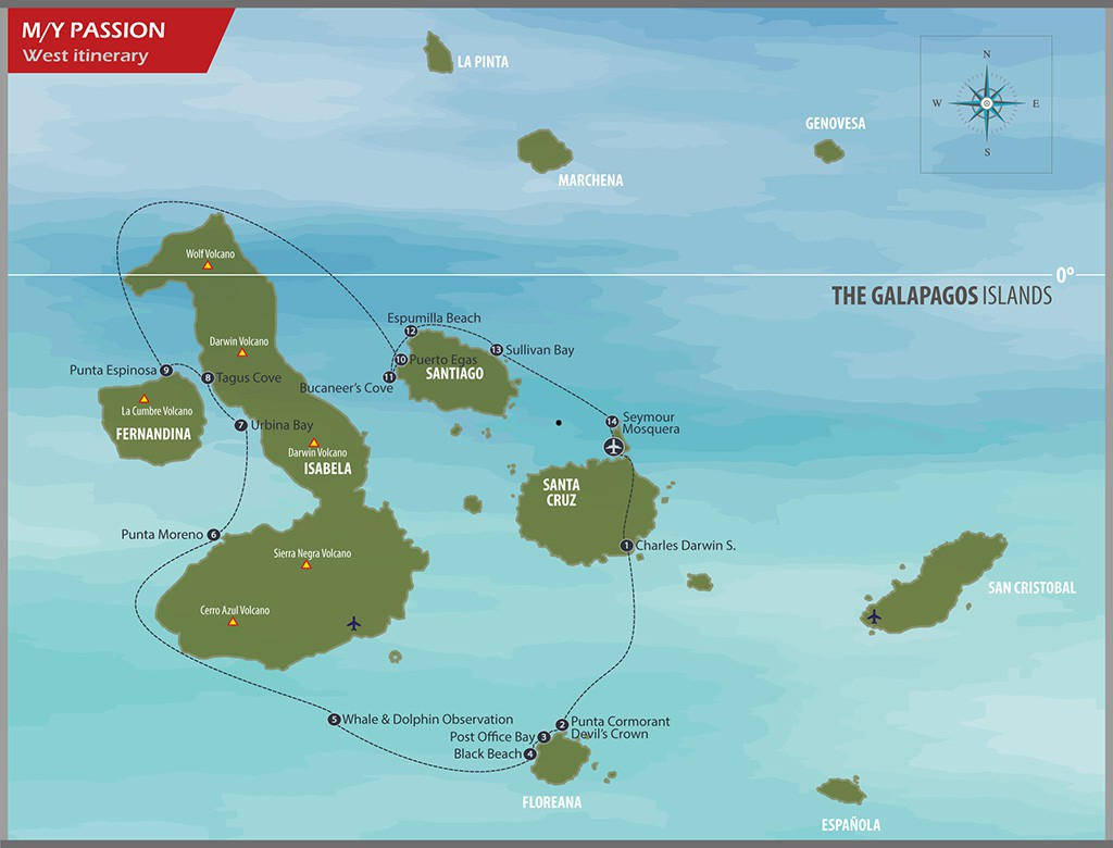 Map for Western Galapagos Islands in Luxury