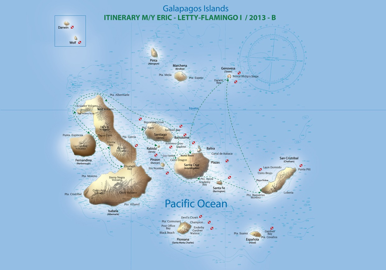 Map for B - Western/Northern Galapagos Cruise