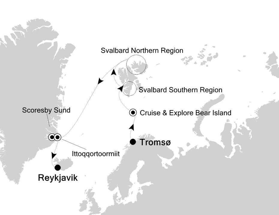 Map for Svalbard and East Greenland