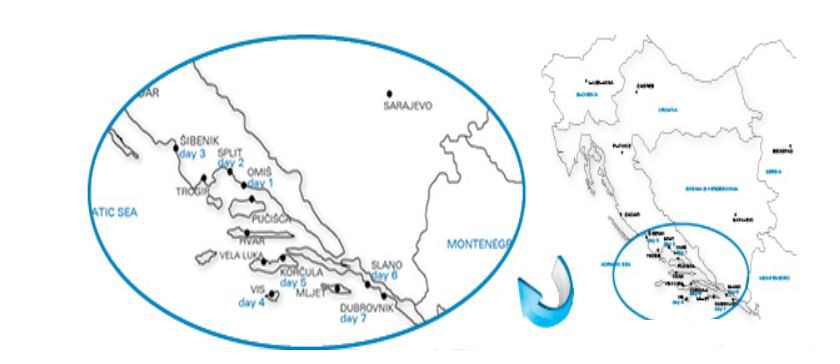 Map for Highlights of South Adriatic - Omis to Dubrovnik