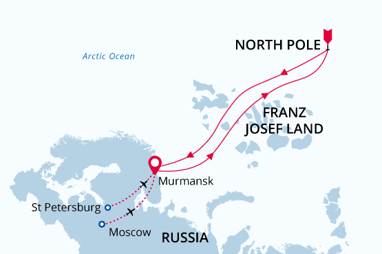 Map for North Pole Icebreaker Cruise