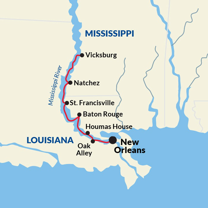 Map for New Orleans Round-Trip Voyage