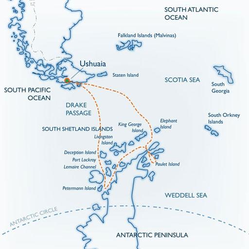 Map for Classic Antarctica (Ushuaia)