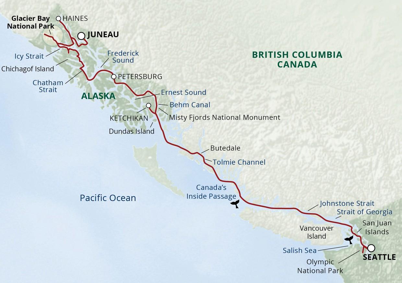 Map for Alaska's Inside Passage & San Juans Cruise (Wilderness Discoverer)