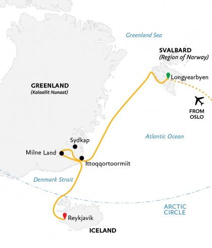 Map for Iceland, Greenland & Spitsbergen (World Explorer)