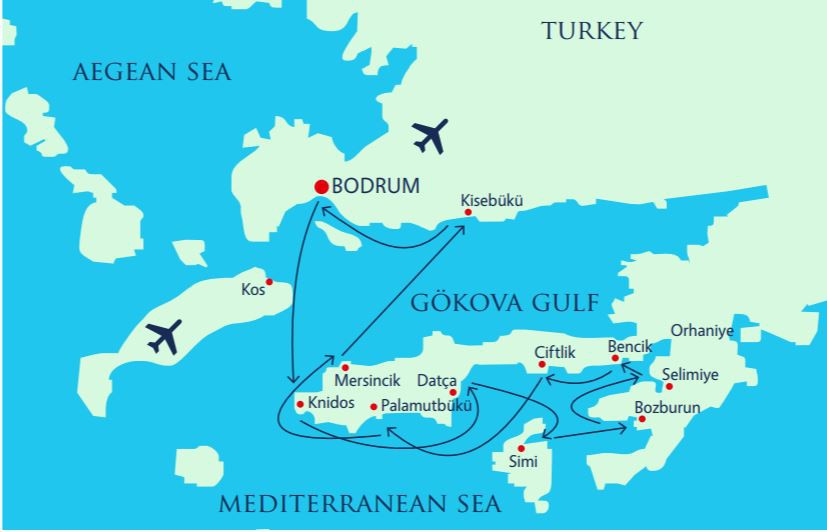 Map for The Island Of Simi & The Hisaronu Gulf