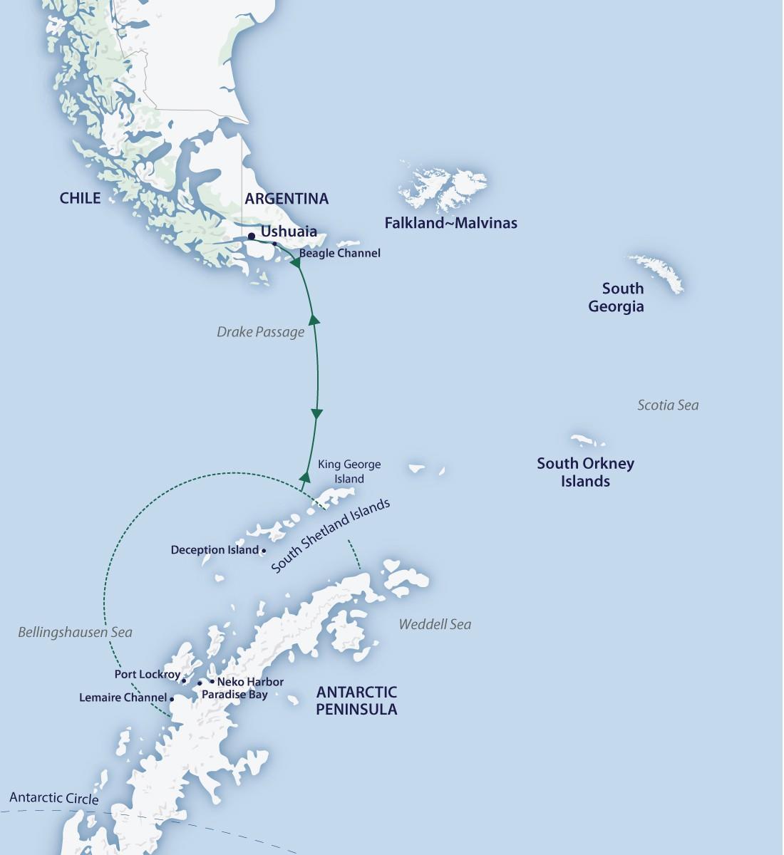 Map for Spirit of Antarctica (Greg Mortimer)